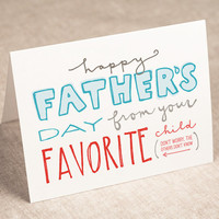 father's day card  favorite child  recycled by PinwheelPrintShop