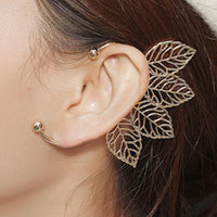Golden Statement Ball Detail Leaf Ear Cuff