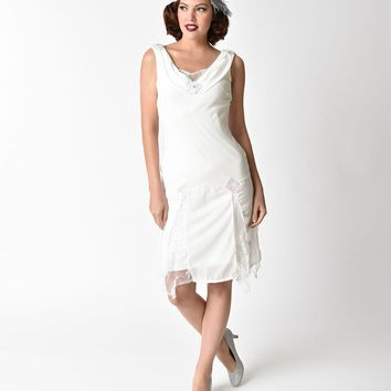 Unique Vintage 1920s Style White Hemingway Flapper Dress