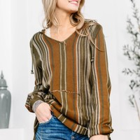 Olive Fall Color Hippy Pullover