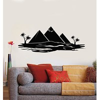 Vinyl Wall Decal Egypt Tourism Travel Pyramids Palm Trees Desert Stickers Mural (g1563)