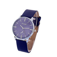 Men's Casual Classic Leather Wrist Band Strap Quartz Sports Watch Blue