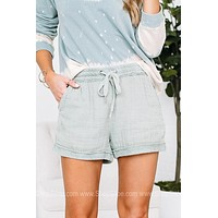 Catching Feelings Sage Drawstring Shorts