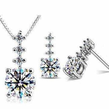 Evangeline Four Stone IOBI Crystals Necklace and Earring Set