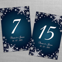 DIY Printable Wedding Table Number Template | Editable MS Word file | 4 x 6 | Instant Download | Winter White Snowflakes Dark Turquoise