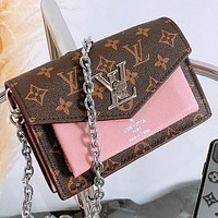 LV Fashion New Monogram Print Leather Chain Shoulder Bag Crossbody Bag Pink