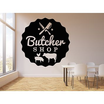 Vinyl Wall Decal Butcher Shop Beef Meat Kitchen Cutting Board Stickers Mural (g2827)