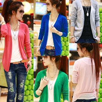 Women Lovely Irregular Hem Casual Tops Knit Sweater Cardigan Jacket Coat 7299 = 1958318276