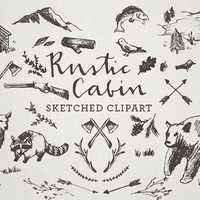 Rustic Cabin Clipart - Sketched Clip Art, Crosshatch art, Hand drawn clipart, sketchy drawings, bear clipart, nature clipart, wilderness art
