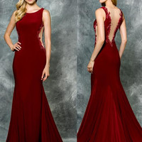 Colors 1712 Sheer Back and Side Mermaid Prom Evening Dress