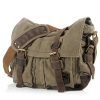 "Econoled Men's Trendy ""Colonial"" Italian Style Messenger Bag with Leather Straps - Olive Drab Green"