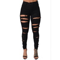 New Cotton High Elastic Imitate Jeans Woman Knee Skinny Pencil Pants Slim Ripped Jeans For Women Black Ripped Jeans XL CL0100