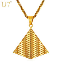 U7 Egyptian Pyramid Pendant Charm Necklace Gold Color 316L Stainless Steel Chain Women/Men Egypt Jewelry Hot New Arrival P1005