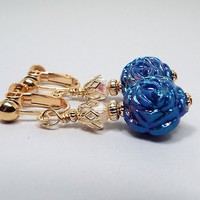 Clip on Earrings, AB Blue Rose Flower Earrings, Drop Dangle, Gold Plated, Spring Fashion, Floral Jewelry, Acrylic Beaded, Screwback Earrings