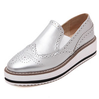 Fashion 2016 Women Flats Slip On Vintage Leather Women Loafers Spring Autumn Creepers Casual Platform Flats Shoes