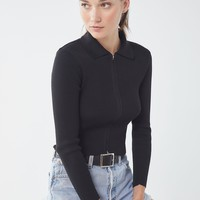 UO Toni Collared Zip-Front Sweater | Urban Outfitters