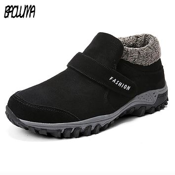 Winter Ankle Boots Men Suede Leather Winter Shoes Men Tennis Sneakers Winter Ankle Boots Male Warm Working Casual Botas Hombre