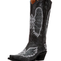 Corral Women's Circle G by Corral Black / Blue / Grey Crackle Wing Cross Boot