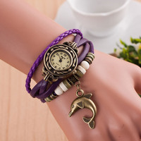 Beautiful Gift Hot Colorful Vintage women watches Weave Wrap Leather Quartz Bracelet wristwatches watch Dolphin Decoration