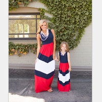 July 4th Outfit Mommy and Me  Matching Dresses Summer Mother and Daughter Girls Matching Red White Navy Blue Family Clothe