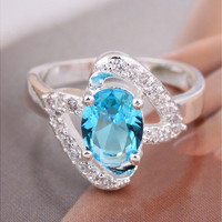 925 Sterling Silver Ring Women's Fashion Lake blue Jewelry Double Heart gem Couples ring Rings