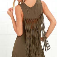 Adriana Olive Green Fringe Swing Dress