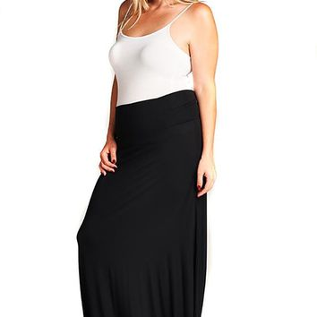 Womens Solid Black Basic Fashion Knit Plus Size Maxi Skirt U.S.A