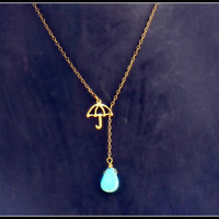 umbrella necklace with turquoise drop by alapopjewelry
