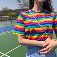 The best-selling BTS Korean ulzzang women's top Summer casual fashion eye-catching kawaii rainbow striped harajuku vadim T-shirt