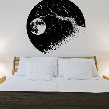 Vinyl Wall Decal Sticker Tree Branch and Moon #OS_AA1562
