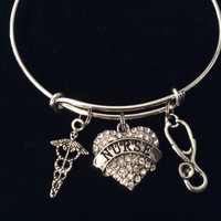 Nurse Crystal Heart Charm Expandable Silver Bracelet Adjustable Wire Bangle Stethoscope Caduceus