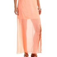 Sheer Maxi Skirt with Slit by Charlotte Russe