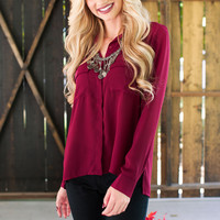Tyra Button Up Top - Burgundy