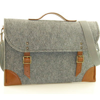 Felt Laptop bag 15 inch with pocket, sleeve, Macbook Pro 15 inch, Laptop case, grey felt and brown leather