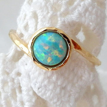 Mint Opal ring, Gemstone ring, Gold ring, Silver ring, Opal ring, Mint stone ring, October birthstone ring, dainty ring, stacking ring