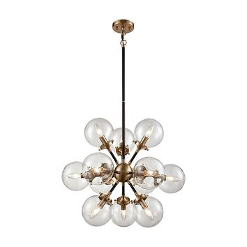 Boudreaux 12-Light Chandelier in Antique Gold and Matte Black with Sphere-shaped Glass