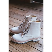Camilla Canvas Lace-Up Boots, Beige