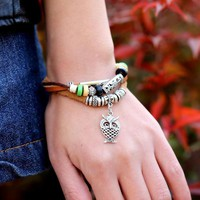 SUSENSTONE Multilayer Owl Bracelet