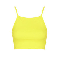 PETITE Ribbed Jersey Crop Top - Fluro Yellow