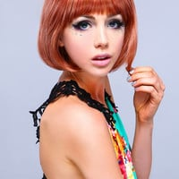 SHORT BOB WITH BANGS SYNTHETIC FULL WIG