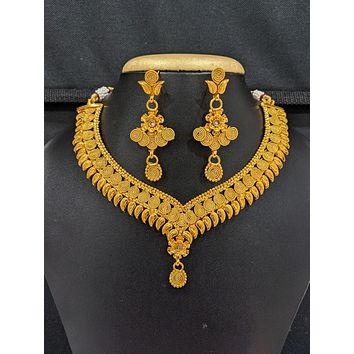 Real gold look alike Choker Necklace and Earrings set - 3 designs available