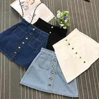 On sale 2019 summer Womens ladies A-line Jeans Skirt Button High Waist Denim small pockets Skirt harajuku mini high quality jean