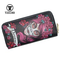 TZECHO Long Wallet for Women With Phone PU Walet Skull Head Clutch Female Purses Rfid Credit Cards Holder Ladies Women Wallets