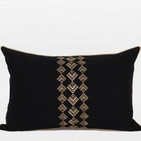 """Black And Gold Geometry Pattern Embroidered Pillow 14""""X22"""""""