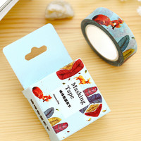 JF314 1.5CM Wide Colorful Feather & Fox Washi Tape DIY Scrapbooking Sticker Label Masking Tape School Office Supply