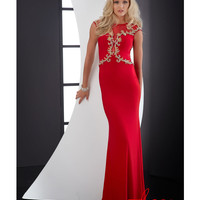 Jasz Couture 2014 Prom Dresses - Red Jersey & Gold Filigree Cap Sleeve Prom Gown