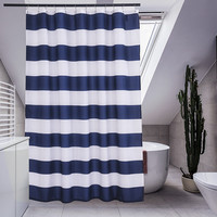 Navy and White Strip Fabric Shower Curtain For The Bathroom