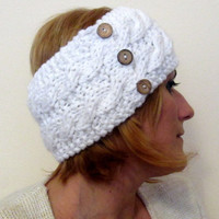 Knitted Headband, Collar, Ear Warmer, Head Warmer, Neck Warmer, Soft Wool, White,  Adorned With Coconut Shell Buttons, With Free Gift