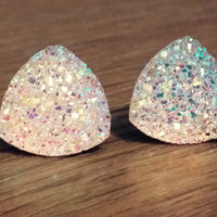 Druzy earrings-  Triangle iridescent rainbow clear druzy earrings