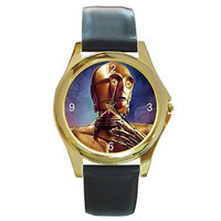 """Star Wars """"C3PO""""on a Gold Round Watch with Leather Bands ..Sci-Fi Lovers *"""